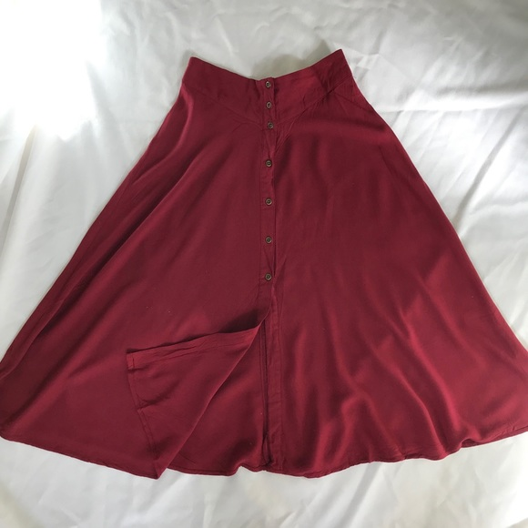 b902d6f4e00 Ecote Dresses & Skirts - Wine red Urban Outfitters ecoté button midi skirt